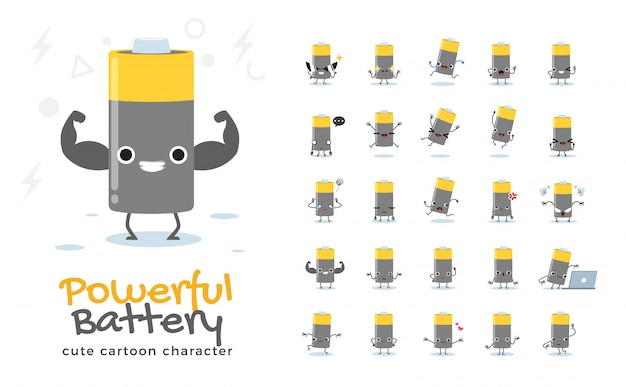 Набор мультфильма батареи. иллюстрация.