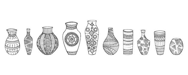花瓶のセット。手描きの花瓶のさまざまな形。ベクトルイラスト。花瓶