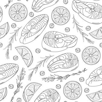 サーモンステーキとのシームレスなパターン。手描きサーモンステーキ、レモンウェッジ、ハーブ。