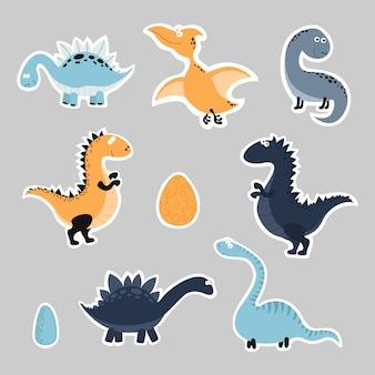 Коллекция наклеек динозавров в мультяшном стиле.