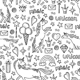 ユニコーンと手描きのシームレスパターン。