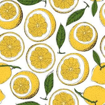 ベクトル手描きレモンのシームレスパターン
