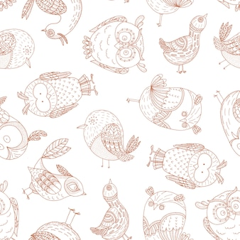 Безшовная картина с сказочными птицами.