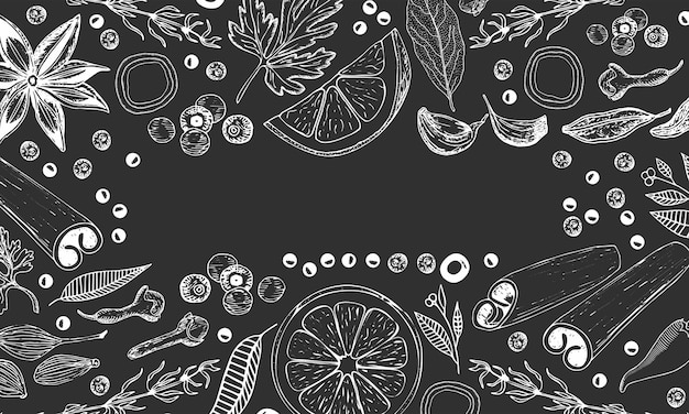 キッチンの手描きの背景:スパイス、ハーブ、フルーツ。