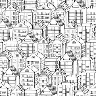 落書き家のシームレスなパターン。黒と白のベクトル図。