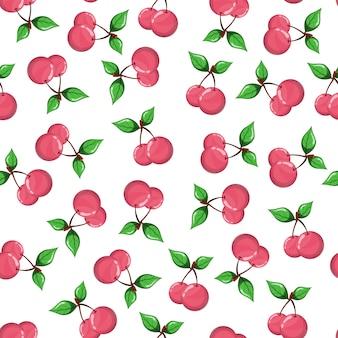 白地に桜のシームレスパターン