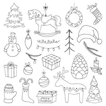 メリークリスマスサインセット。手描き落書きのシンボル。