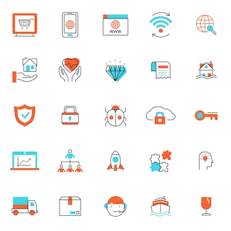シンプルな細いラインとユニークな色の編集可能なストロークで、ビジネスや金融のアイコンのセット。