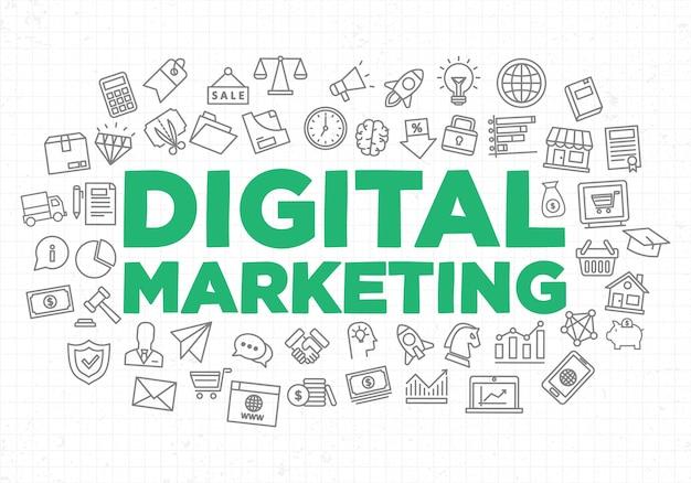 創造的なバナーのデジタルマーケティング資産のイラスト
