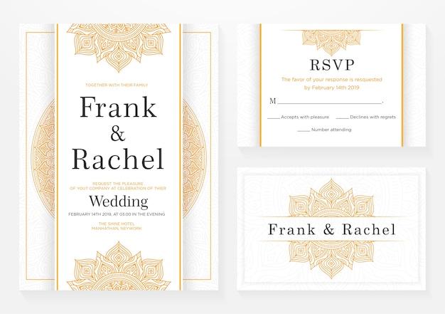 エレガントなスタイルの結婚式招待状テンプレートデザインのセット