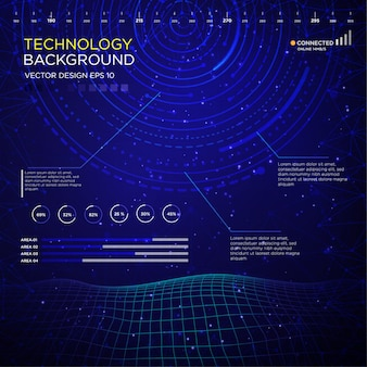 抽象的なサークルインタフェースを持つテクノロジーバックグラウンド