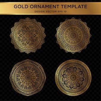 抽象的な金飾りデザインのセット