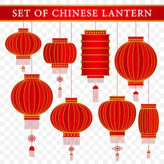現実的な概念を持つ中国の伝統的なランタンテンプレートのセット