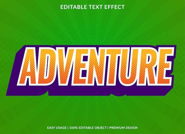 Шаблон текстового эффекта приключения в стиле ретро