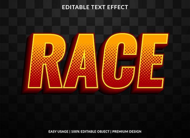 Шаблон текстового эффекта гонки с жирным и ретро-стилем