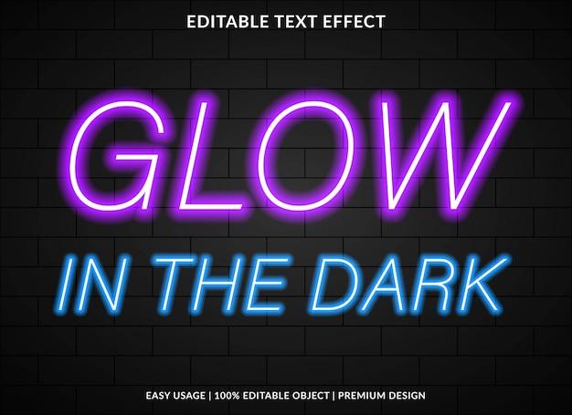Шаблон текстового эффекта свечения в стиле неонового света