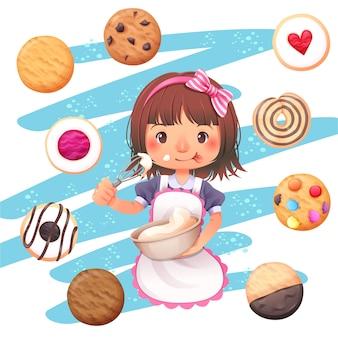 小さな女の子キャラクターデザインとクッキーのベクトル