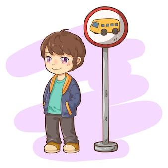 バス停を持つ少年