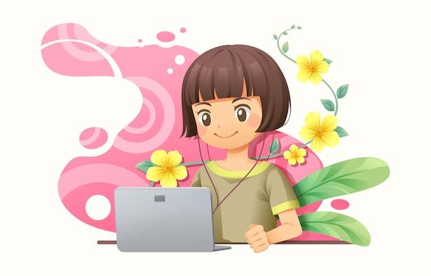 ノートブックを扱うグラフィックデザイナーの女性