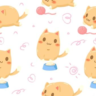 シームレスパターンかわいいオレンジ色の猫