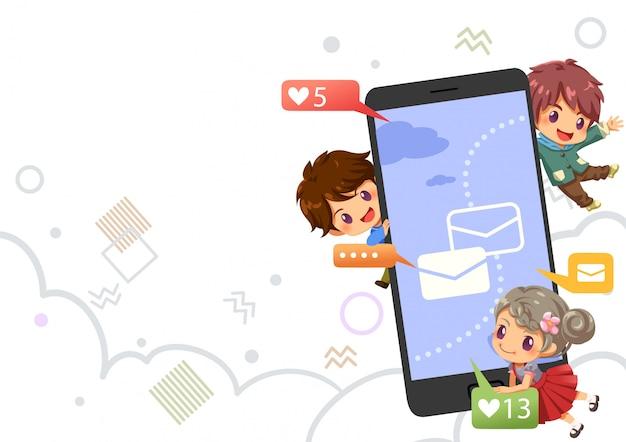 Подростки в чате и прекрасный значок в социальной сети интернет, фон вектор