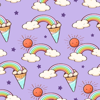 かわいいレインボーアイスクリームコーンと白い星のシームレスパターン