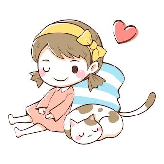 女の子の隣で寝ている猫