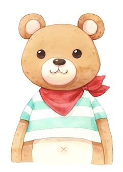 少年クマの水彩イラスト