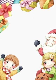 Санта-клаус и дети акварельные иллюстрации