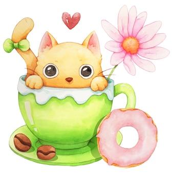 猫、コーヒーカップ、ドーナツの水彩画