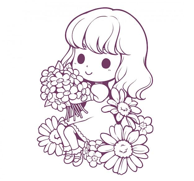 小さな女の子と花の落書き