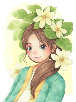 甘い若い女性と花の水彩画