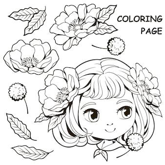 Раскраски милая девушка и цветок