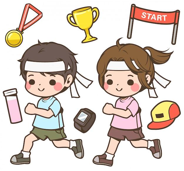 Бегуны мальчик и девочка иллюстрация