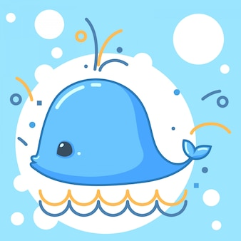 クジラの漫画のキャラクターのベクトル