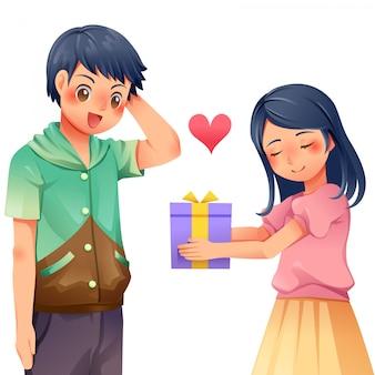女性は男性に贈り物を与える文字ベクトル