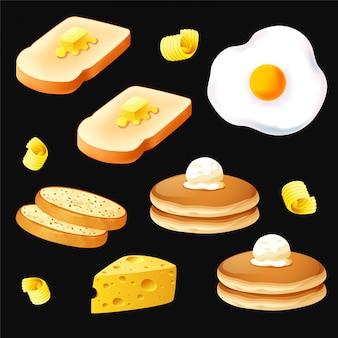 黒の背景ベクトル上の朝食オブジェクト