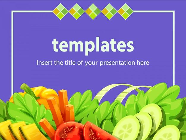紫色の背景テンプレートにサラダ野菜の枠線