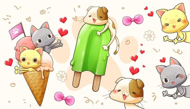 愛のかわいい猫のキャラクター漫画デザイン - ベクトル