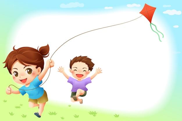 カイトフレームベクトル画像を遊ぶ子供