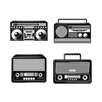黒と白のラジオベクトルコレクション