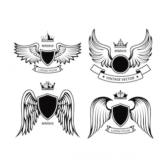 翼のベクトルコレクションとシールドデザイン