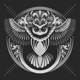 シルバーカラーのフクロウの紋章