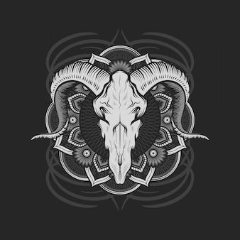 マンダラとヤギの頭蓋骨