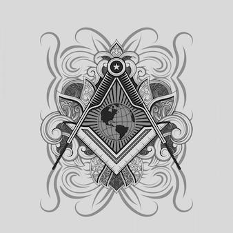 フリーメーソンの正方形とコンパスのシンボル
