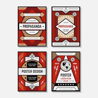 色のプロパガンダポスターデザインテンプレートコレクション