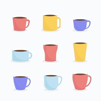 Плоская кофе-кубок вектор