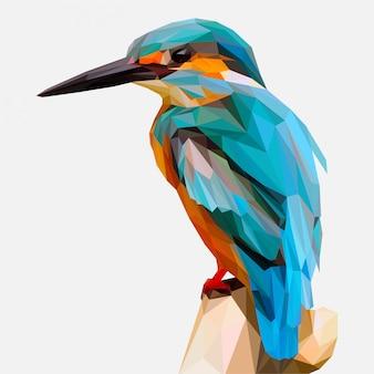 Низкополигональная иллюстрация птица зимородок