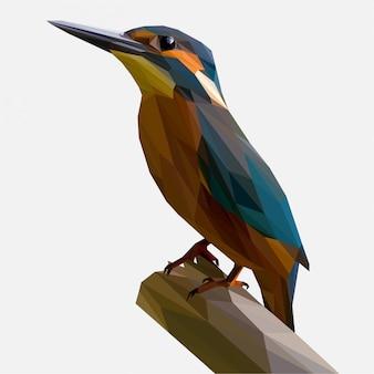 カワセミの鳥の低ポリ