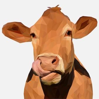 茶色の牛の低ポリ